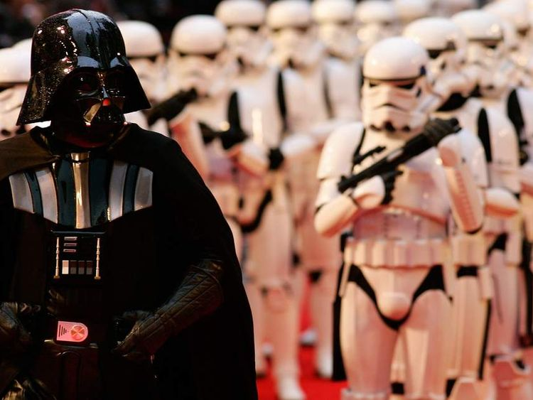 Actors portraying Darth Vader and Storm Troopers arrive for the UK premiere of the Star Wars film ...