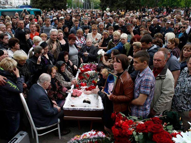 The funeral of 21-year-old nurse Yulia Izotova in Kramatorsk