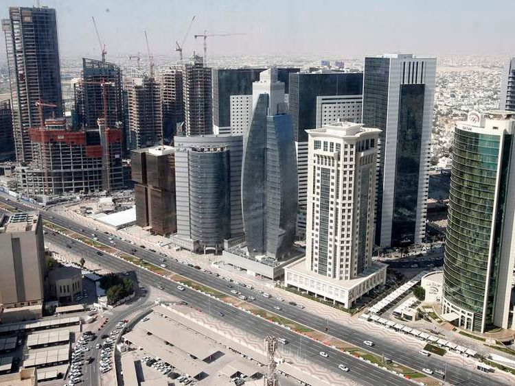 A general view of Doha city with buildings under construction
