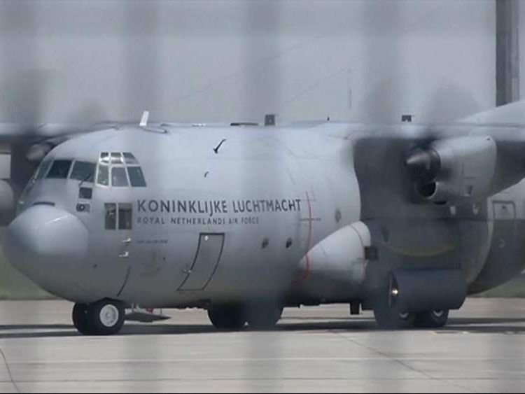 A Dutch military plane leaves Ukraine carrying more bodies