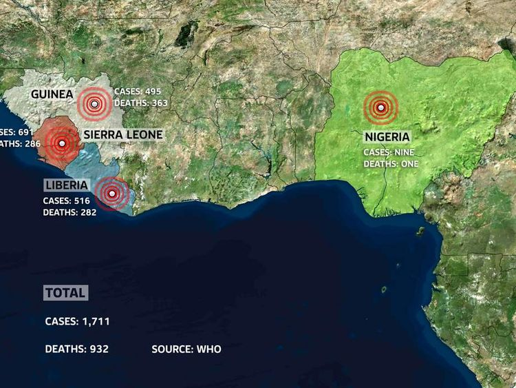A graphic showing the total number of cases and death from ebola in West Africa