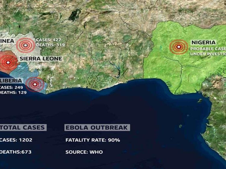 Graphic showing the total number of cases and deaths from ebola in West Africa.