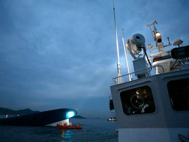 "South Korean ferry ""Sewol"" is seen sinking at the sea off Jindo"