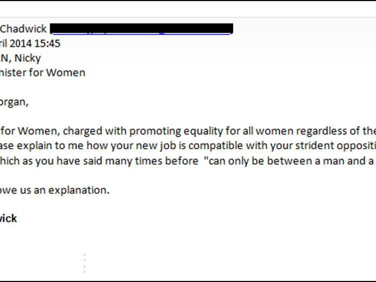Gary Chadwick and Nicky Morgan email exchange