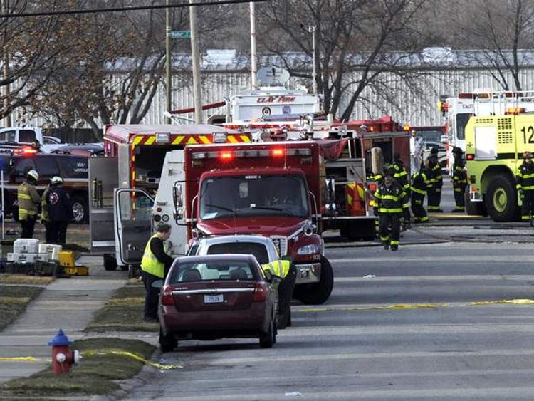 Emergency services at the scene of a plane crash in South Bend, Indiana