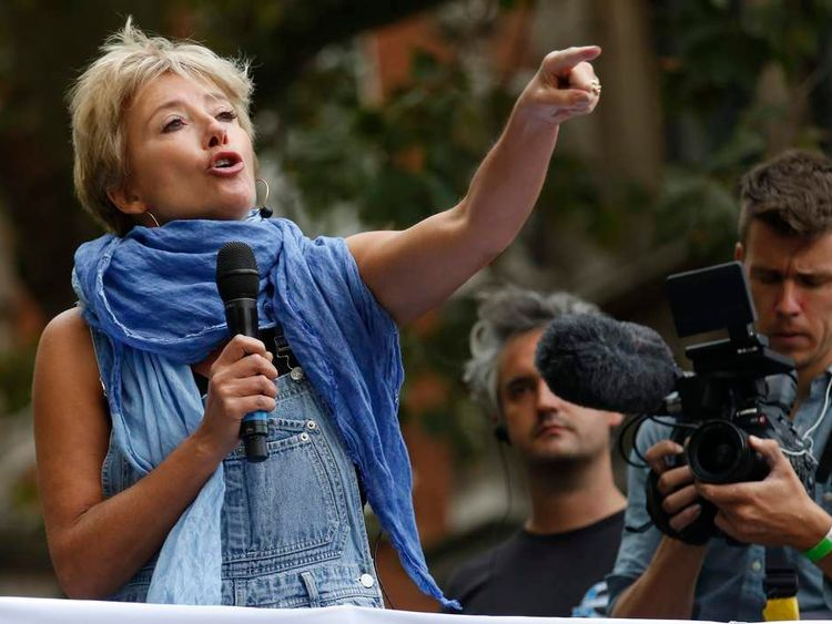 """Actress Emma Thompson speaks during the """"People's Climate March"""" demonstration in London"""
