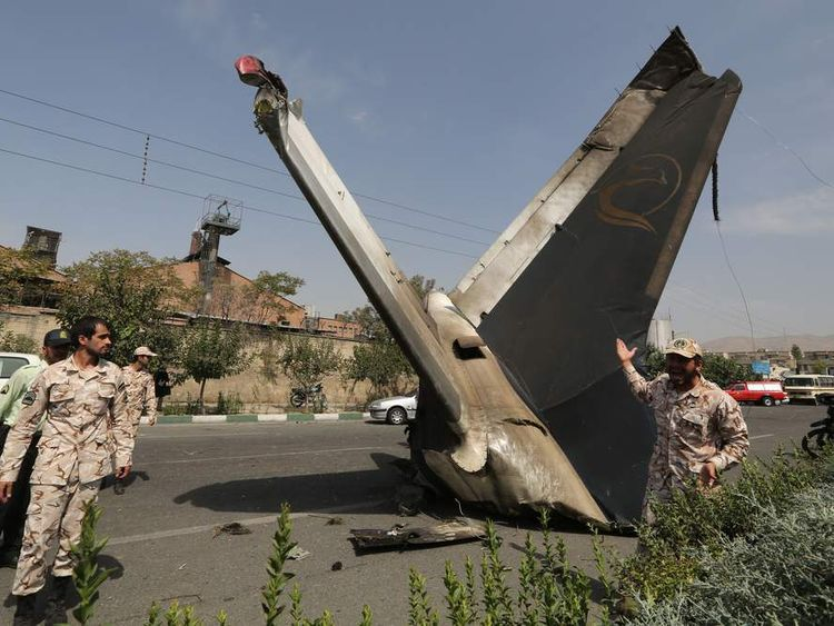 The remains of a plane that crashed near Tehran's Mehrabad airport