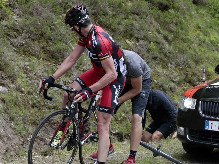 BMC Racing Team rider Cadel Evans suffers a puncture