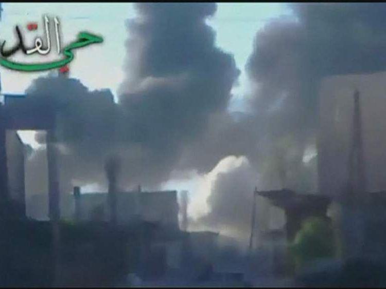 A bomb blast in Damascus, Syria