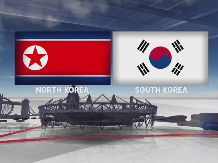 Graphic of North Korean and South Korean flags