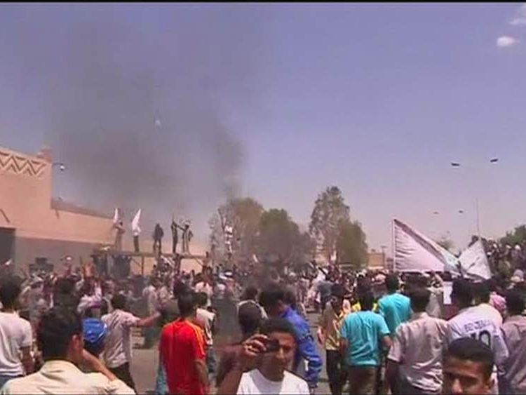 Protests outside the US embassy in Sanaa