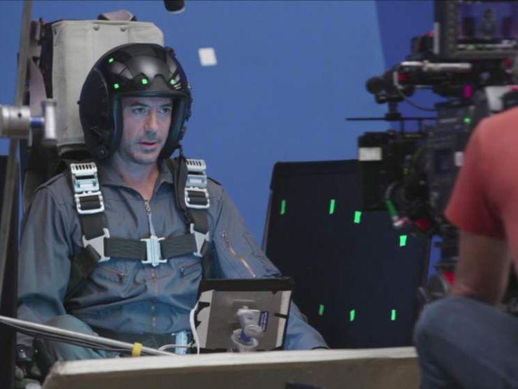 Robert Downey Junior Cockpit Blue Screen