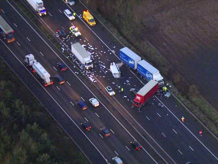 The scene of a crash on the M6