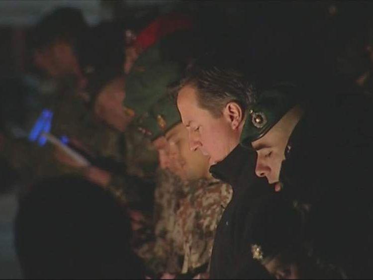 David Cameron singing carols in Afghanistan