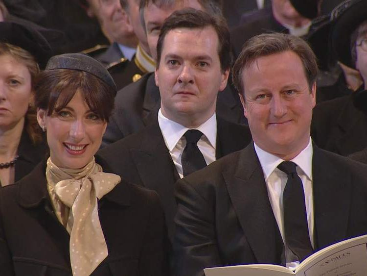George Osborne cries at the funeral of Baroness Margaret Thatcher
