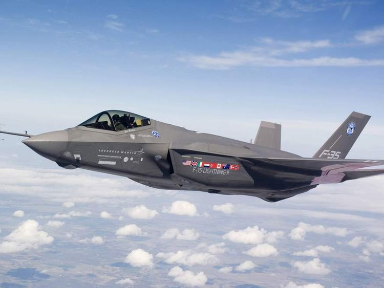 Over Fort Worth, Texas, an F-35 Lightning II test aircraft AA-1 undergoes a flight check.