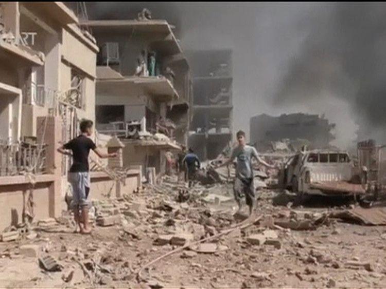 Aftermath of bombing in Qamishli, Syria