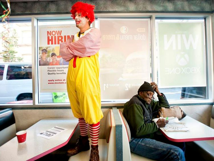 A fast food protest by a McDonald's restaurant in in Oakland, California
