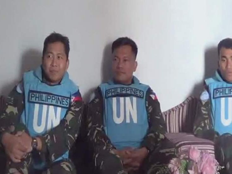 Filpino peacekeepers held by rebel group in Syrian Golan Heights
