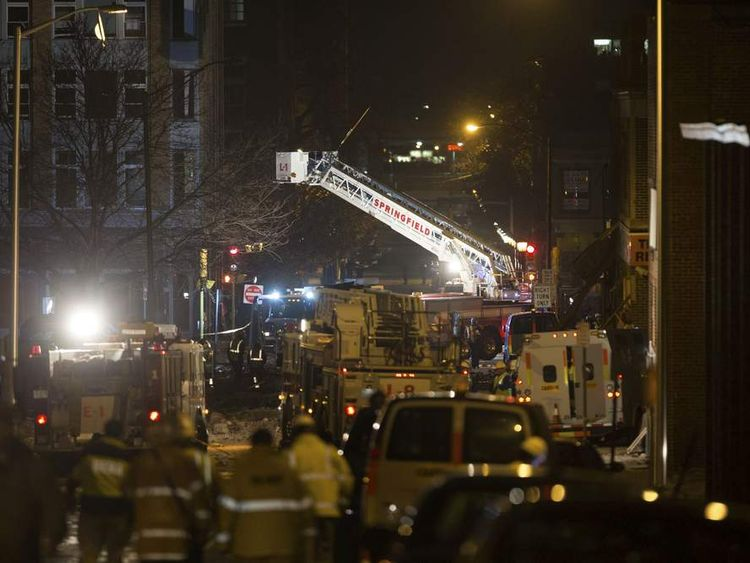 Firefighters at gas explosion in Springfield, Massachusetts