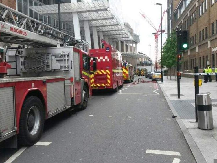 Fire engines investigate smoke at Shard