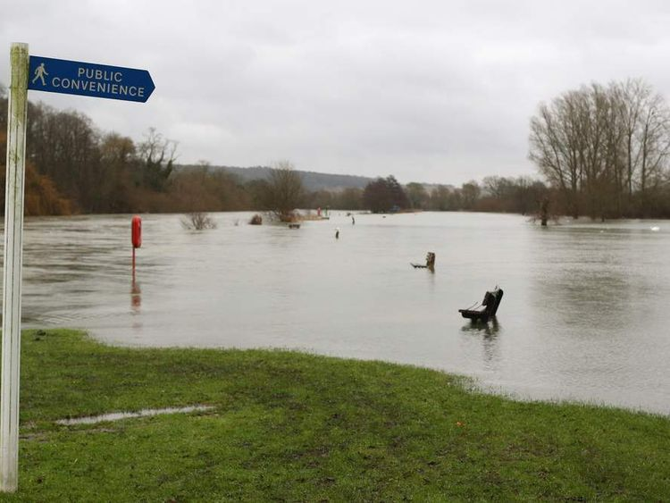 Flood waters from the River Thames