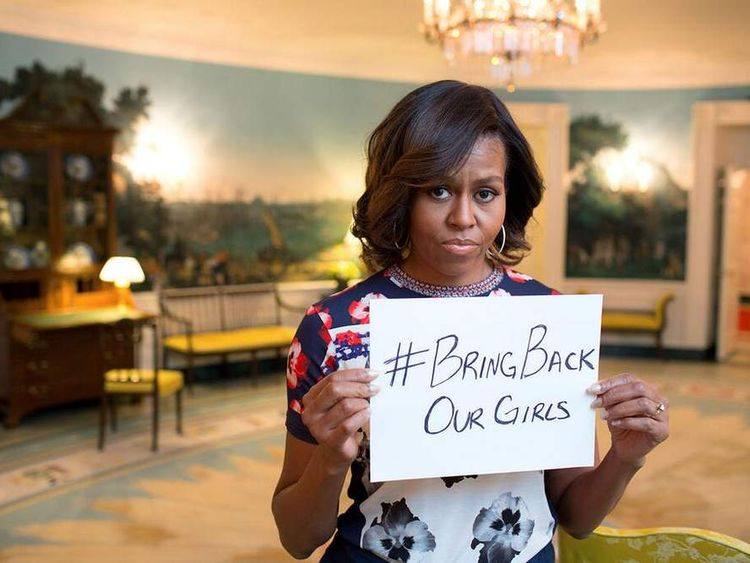 Michelle Obama shows her support for the girls kidnapped in Nigeria
