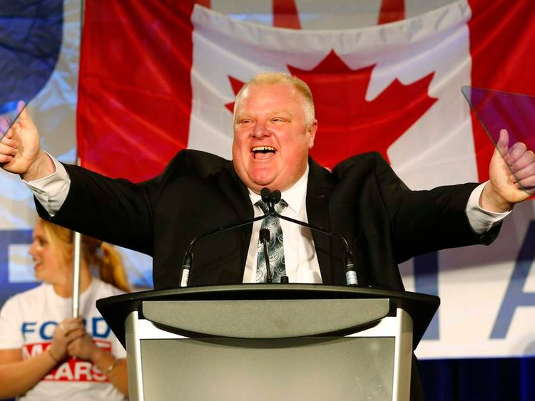 Toronto Mayor Rob Ford during his campaign launch party