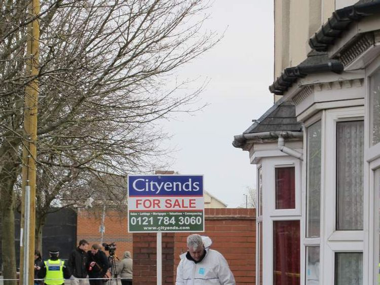 Forensics officers outside an address in Small Heath, Birmingham