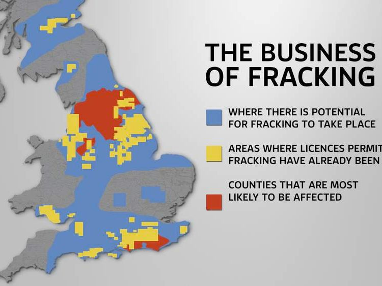 A map showing areas of Britain that could be affected by fracking