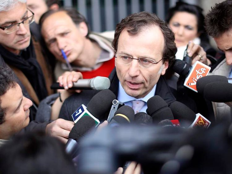 Maresca, a lawyer representing the Kercher family, speaks to journalists as he leaves Italy's Court of Cassation in Rome