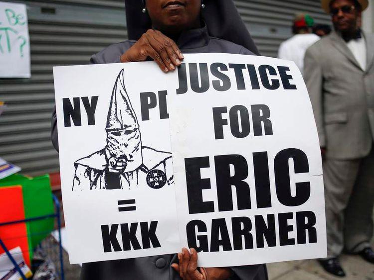 Demonstrator for Eric Garner in the Staten Island borough of New York
