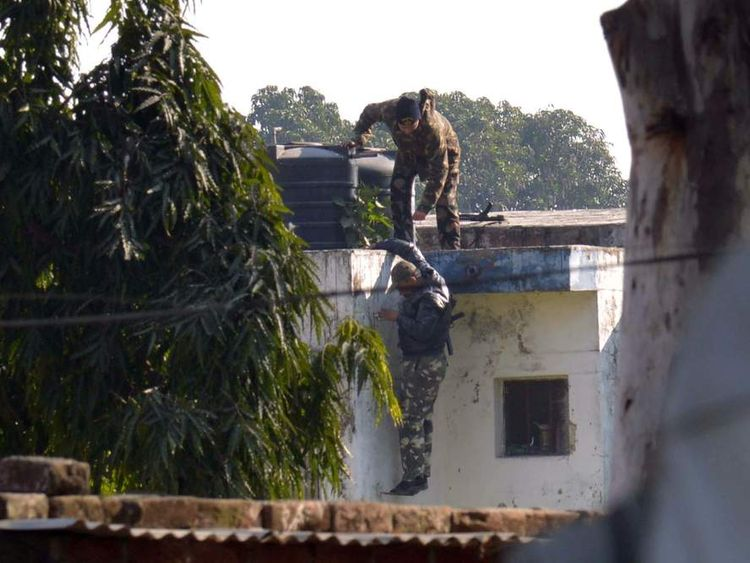 Security forces at the Pathankot air base in India