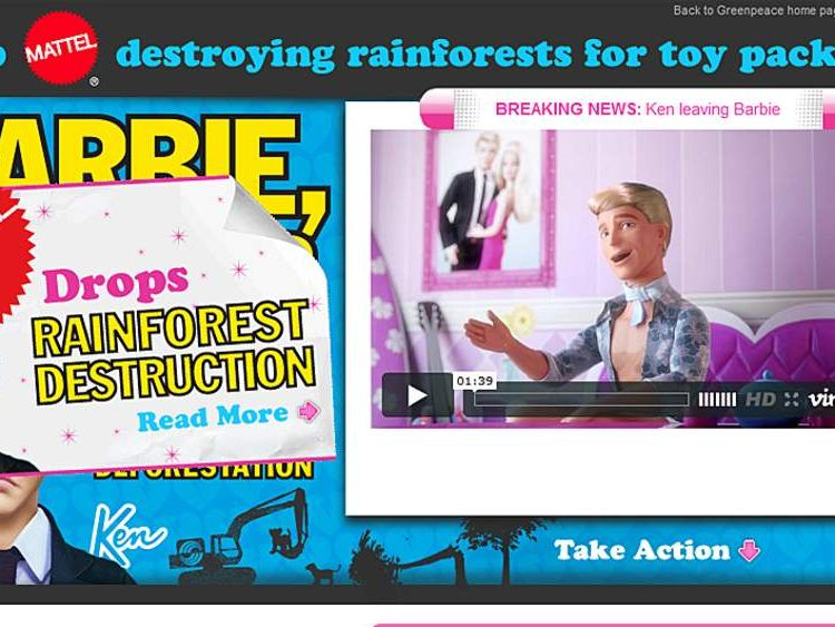 Greenpeace launched a campaign against Mattel sourcing Asian rainforest packaging