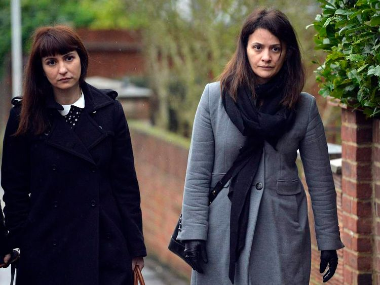 Sisters Francesca and Elisabetta Grillo arrive at Isleworth Crown Court in west London