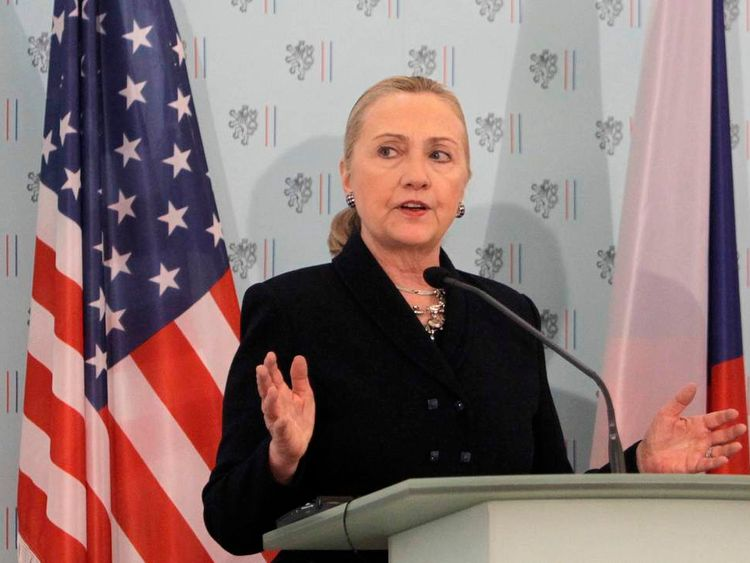 U.S. Secretary of State Clinton speaks during a news conference in Prague