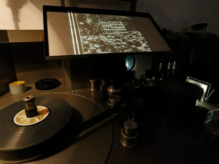 """Footage from the 1934 U.S. anti-Nazi film """"Hitler's Reign of Terror"""" is pictured at the Cinematheque Royale de Belgique in Brussels"""