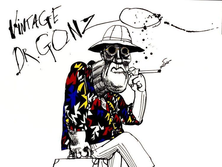 Illustration of Hunter S Thompson by Ralph Steadman For Fear & Loathing In Las Vegas