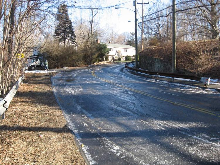 Icy road in Connecticut. Pic: Norwalk police
