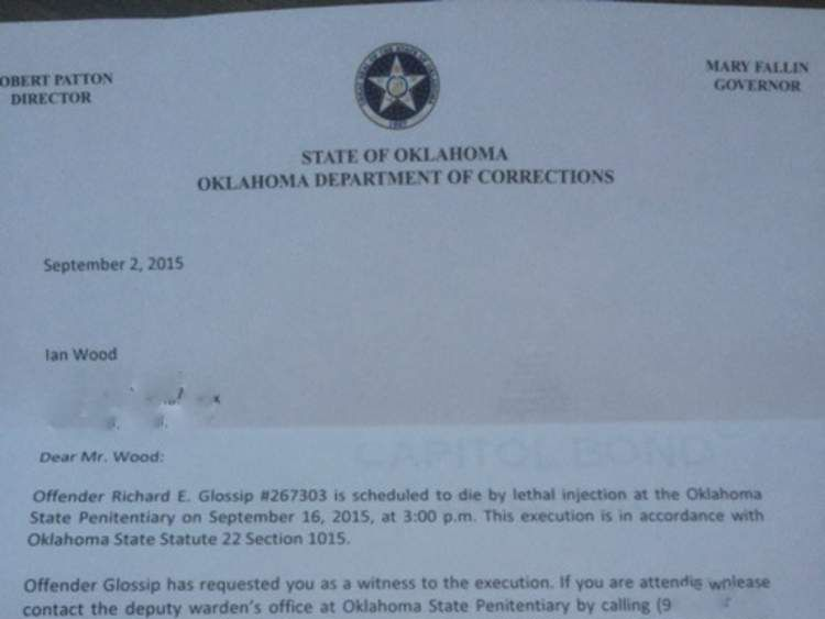 Ian Woods' letter from Oklahoma Department of Corrections