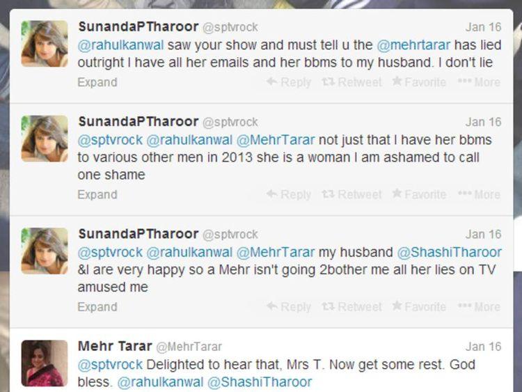 Sunanda Tharoor and Mehr Tarar's alleged Twitter row
