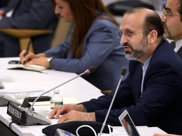 Seifi, a representative of the Iranian delegation, delivers a response after an address by Israel's PM Netanyahu to the United Nations General Assembly in New York