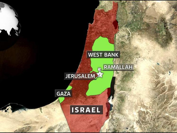 Israel map showing West Bank, Gaza, Jerusalem