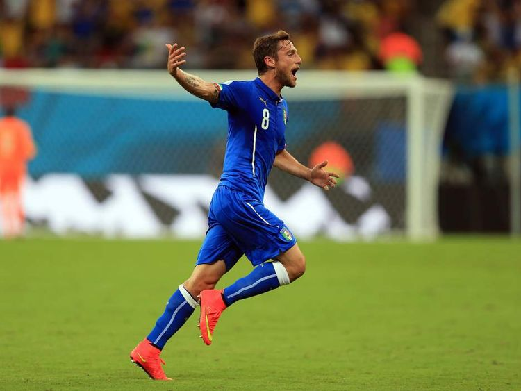Claudio Marchisio celebrates scoring his side's first goal of the game