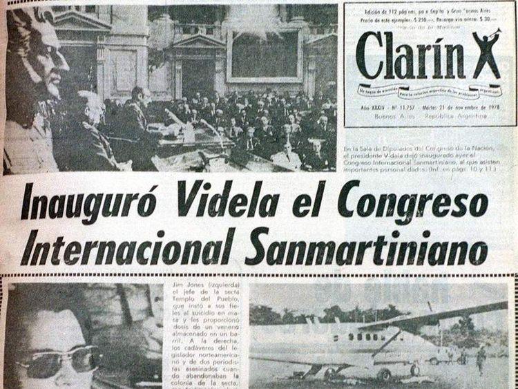Newspaper headline of Jonestown massacre on 21 November 1978