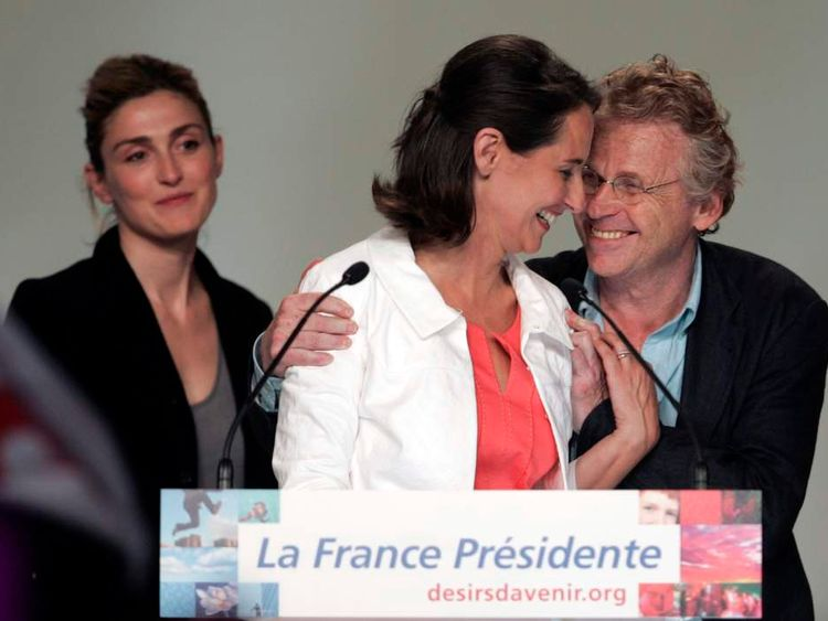 Ecologist Euro-deputy Cohn-Bendit hugs France's Socialist Party presidential candidate Royal during a political rally in Montpellier