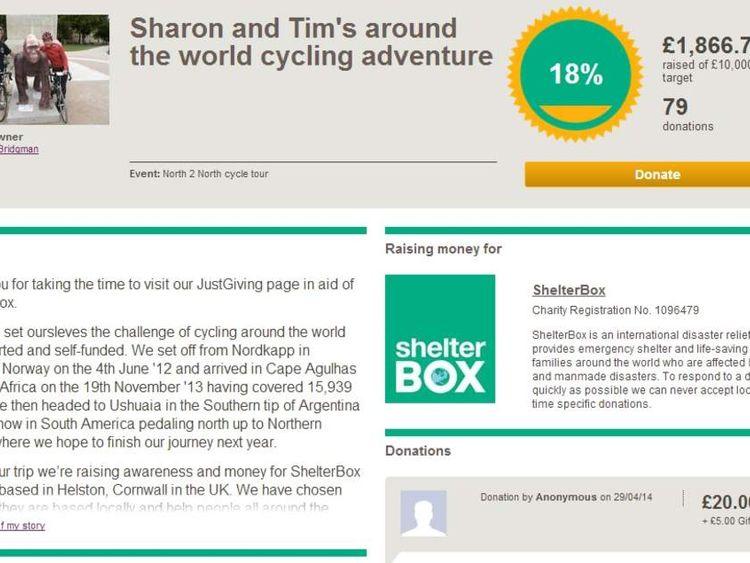 Tim and Sharon Bridgman's Just Giving page.