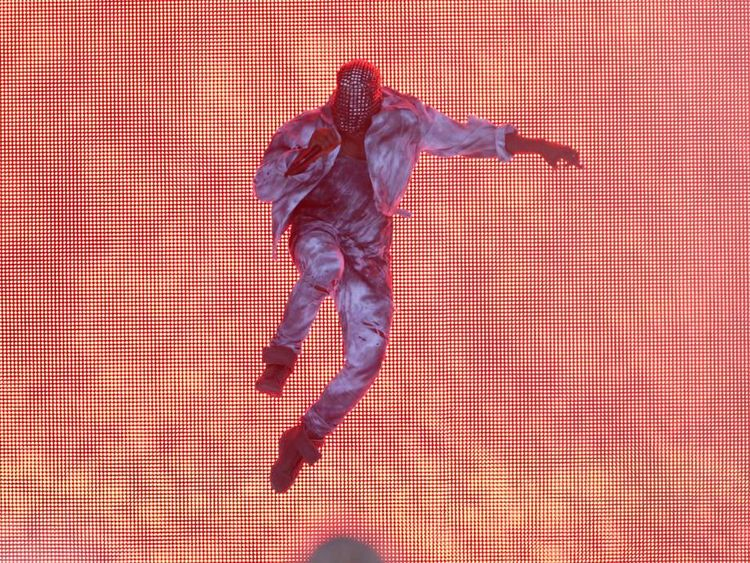 Kanye West performing at the Wireless Festival in Finsbury Park