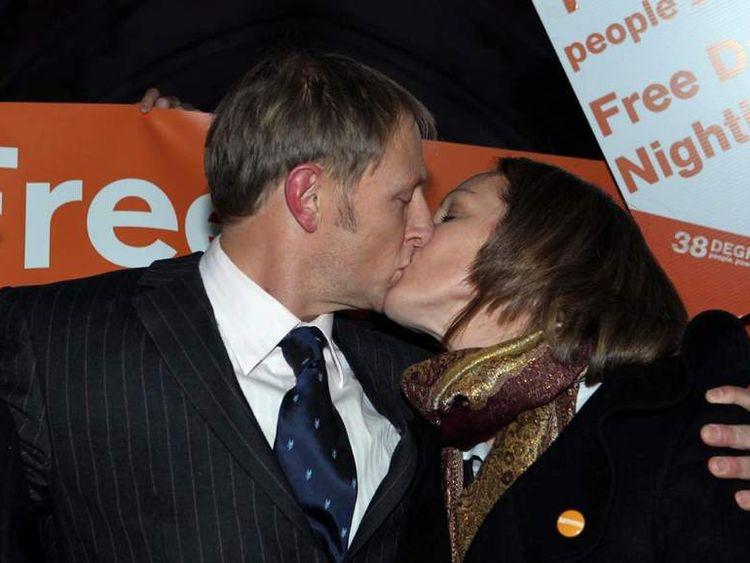 Sergeant Danny Nightingale kisses his wife