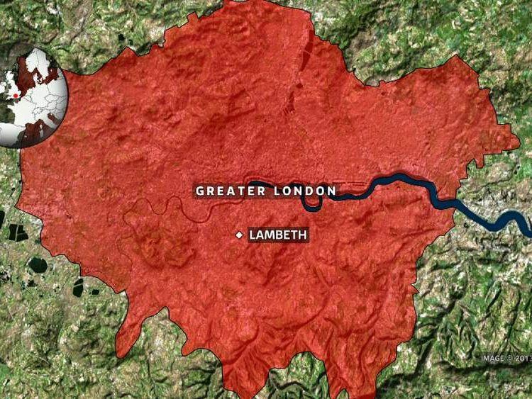 London map showing Lambeth